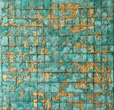 Abstrakte Malerei 06 Blattgold 30x30x15 cm von AtelierMaltopf