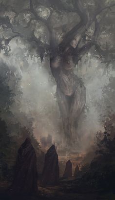 GAEA [aka GAIA] [noun] the ancient Greek goddess of the earth, mother of the Titans. [Jesse Keisala - Prayers of Mother Nature] [this tree and setting except highly artistic] Fantasy World, Dark Fantasy, Fantasy Art, Fantasy Forest, Dark Forest, Mother Earth, Mother Nature, The Ancient Magus, Ancient Greek