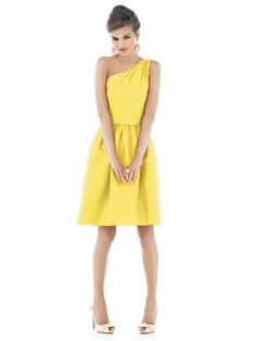 Alfred Sung - One shoulder cocktail length dupioni dress, with pockets at side seams of the full shirred skirt. Shown in Daisy.