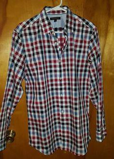 Banana Republic Non Iron Tailored Slim Fit Multi Check Button Down Dress Shirt L #BananaRepublic $23