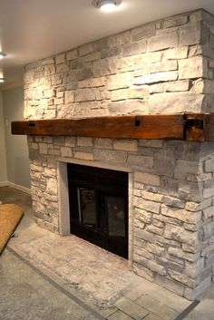 I love this fireplace mantle! barn beam for fireplace mantle. Doing this with the old Barnwood Beam we found today! Fireplace Redo, Fireplace Remodel, Fireplace Design, Fireplace Ideas, Brick Fireplaces, Fireplace Inserts, Whitewash Stone Fireplace, Stacked Stone Fireplaces, Fireplace Mantles