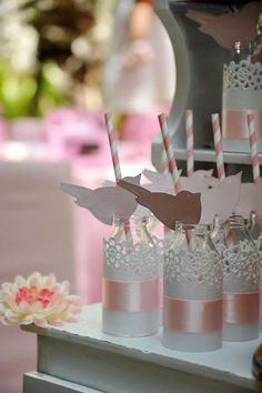 Paper straws and lace drinks at a vintage high tea birthday party! See more party planning ideas at CatchMyParty.com!