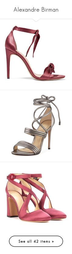 """""""Alexandre Birman"""" by designing-myworld ❤ liked on Polyvore featuring shoes, sandals, heels, footwear, embellished sandals, bow sandals, alexandre birman shoes, satin shoes, high heel shoes and grey"""