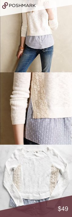 Anthropologie Moth Terrace Pullover Cute layered style Pullover from Anthropologie brand, Moth. Stripe shirt material underneath a chunky knit white sweater. Cotton. Size L. Excellent condition. No excessive signs of wear. Anthropologie Sweaters Crew & Scoop Necks