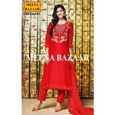 Red Embellished Salwar Suit