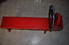 bench with a steering wheel