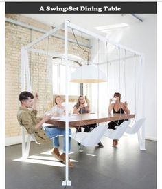 The swing table is a large conference table that uses swings as the chairs. Great for conference rooms, meeting rooms, or board rooms, the swing table will give your employees a bit of enjoyment inbet. Swing Table, Swing Chairs, Hanging Chairs, Swing Seat, Hanging Table, Play Swing, Room Chairs, Home Interior Design, Interior Ideas