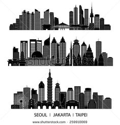 skyline detailed silhouette set (Seoul, Jakarta, Taipei). Vector illustration
