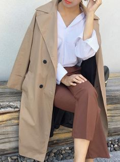 Shades of brown OOTD #dailyabout #bootcut #pants #shirt #coat Cute Fashion, Asian Fashion, Girl Fashion, Style Fashion, Asian Style, Fashion Lookbook, Boho Chic, Street Wear, Cute Outfits