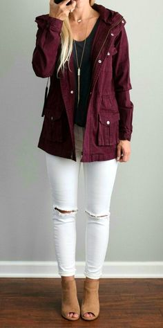 #fall #outfits women's maroon button-up bomber jacket, black scoop-neck T-shirt, distressed white fitted denim jeans, and pair of brown peep-toe suede ankle boots outfit #anklebootsoutfit