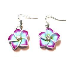 Hawaiian Plumeria earrings purple and blue Hawaiian Plumeria earrings purple and blue light weight beautiful summer style Jewelry Earrings