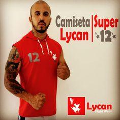 Camiseta Lycan Super 12 | Cor Vermelha, com Capuz.  Composição: 100% Algodão.