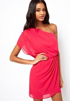 Vestido gasa hombro solo-rojo EUR€22.89