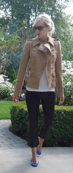 The Simply Luxurious Life®: Style Inspiration: Black cropped pants, white tee, camel cardi or jacket, pop of color flats.
