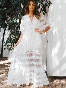 Stylish White Lace Hollow Split-joint V-neck Maxi Dress White Maxi Dresses, Beach Dresses, Spring Dresses, Casual Dresses, White Dress, Formal Outfits, Lace Maxi, Dress Formal, Long Dresses