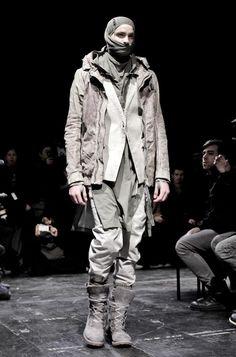 mens, fashion, edgy, by Boris Bidjan Saberi Dark Fashion, Fashion Art, Mens Fashion, Fashion Design, Space Fashion, Dystopian Fashion, Cyberpunk Fashion, Apocalypse Fashion, Post Apocalyptic Fashion