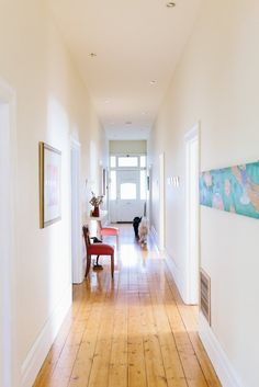 Paint colors that match this Apartment Therapy photo: SW 6670 Gold Crest, SW 6669 Yarrow, SW 6131 Chamois, SW 2834 Birdseye Maple, SW 7565 Oyster Bar Hallway Decorating, Interior Decorating, Interior Design, Joanna Gaines, Ideas Vintage, Decor Scandinavian, Long Hallway, Australian Homes, Built In Storage