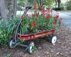 Repurpose an old wagon to make a really cute container garden