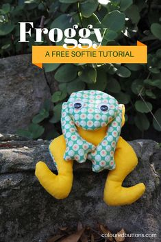 This beanie frog sewing project is a great project for tweens and teenagers. Sewing Patterns For Kids, Sewing Projects For Beginners, Sewing For Kids, Free Sewing, Sewing Ideas, Plushie Patterns, Softie Pattern, Free Pattern, Bear Patterns