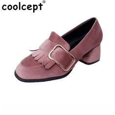 17.75$  Buy now - http://alifcf.shopchina.info/go.php?t=32798425580 - Lady High Heel Shoes Women Buckle Tassel Thick Heels Pumps Square Toe Vintage Party Vacation Leisure Female Footwears Size 35-39 17.75$ #magazine