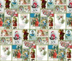 vintage christmas cards fabric by peacoquettedesigns on spoonflower custom fabric - Vintage Christmas Fabric