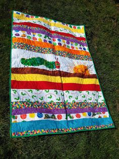 Very Hungry Caterpillar, Baby Quilt, Toddler Blanket, Made in USA ... : caterpillar quilt pattern - Adamdwight.com