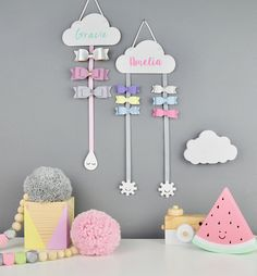 Hair Bow Hanger White with colour name - Hair Bow Holder - Personalised - Hair Clips - Cloud - Hair Accessory Storage - Clips - Sleepy EyesAre you interested in our Hair Bow holder? With our Hair Bow hanger you need look no further.Today is a BIG day Girl Room, Girls Bedroom, Hair Bow Hanger, Diy And Crafts, Crafts For Kids, Hair Accessories Storage, Happy Sunshine, Hair Bows, Ribbon Hair