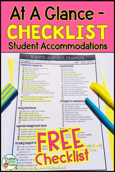 Grab this this FREE checklist to easily record accommodations, modifications, interventions, and supports for IEPs, and special education. Perfect for special education and general education teachers of all grade levels. Grab this special education I Intervention Specialist, Reading Intervention, Reading Fluency, Kindergarten Reading, Preschool Kindergarten, Reading Strategies, Reading Activities, Iep Binder, Teaching Special Education