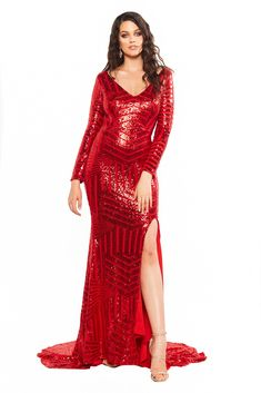 A&N Curve Kaya - Red Sequin Dress with Long Sleeves & Side Slit Red Sequin Dress, Sequin Gown, Sequin Fabric, Metallic Dress, Curve Prom Dresses, Sparkly Dresses, Long Sleeve Gown, Stylish Girl Pic, Plus Size Dresses