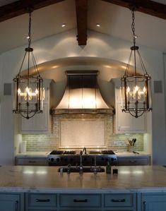 kitchens, lighting, light fixtures, beams, range hoods, islands, kitchen ideas, lanterns, countertop