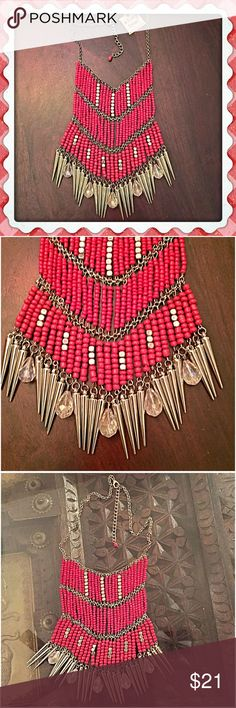 "30% OFF BUNDLES😍Red Mixed Media Necklace😍 Make a stunning style statement and wear this necklace with your fave boho top or dress. Rows of seed beads are set in high quality silvertone metal with silver spikes & faceted hanging clear glass beads. 17""L w/a 3"" extender and lobster claw clasp. Center drop is about 6"". Just fab🎉 NWT InEveryCorner Jewelry"