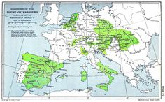 A map of the dominion of the Habsburgs following the abdication of Charles V (1556) as depicted in The Cambridge Modern History Atlas (1912); Habsburg lands are shaded green. From 1556 the lands in a line from the Netherlands, through to the east of France, to the south of Italy and the islands were retained by the Spanish Habsburgs.