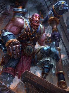 Vulcap'n Redbeard Smite by Brolo (Vulcan) Pirate Art, Pirate Theme, Character Concept, Character Art, Character Design, Character Ideas, Fantasy Male, Weapon Concept Art, Creature Concept