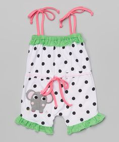Look at this Victoria Kids Black & Lime Polka Dot Elephant Romper - Infant & Toddler on #zulily today!