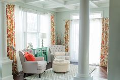 Sea salt w grey and coral. House of Turquoise: Katelyn James Photography Sw Sea Salt, Sea Salt Paint, Colorful Furniture, Painted Furniture, Sea Salt Sherwin Williams, Sitting Room Decor, Sitting Area, House Of Turquoise, Bright Rooms