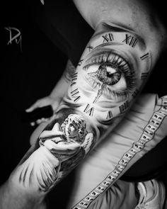 Thigh Tattoo Men, Inner Bicep Tattoo, Outer Forearm Tattoo, Forearm Tattoo Design, Forearm Tattoos, Clock Tattoo Sleeve, Angel Sleeve Tattoo, Tattoo Clock, Clock Tattoo Design