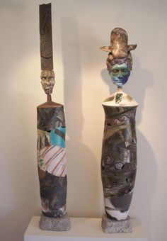 Patrick Crabb   Sculptures  Ceramic, wheel thrown & handbuilt  raku/oxidation fired