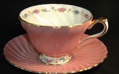 Aynsley Pink Swirled Floral Footed Cup and  Saucer  picclick.com