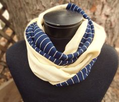 Navy blue jersey stripe infinity scarf with yellow vintage knit by PaleDesign on Etsy, $23.00
