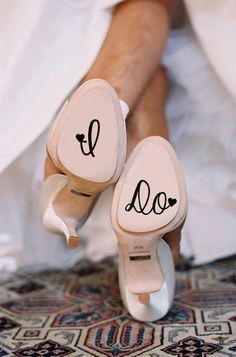 Decals add a cute touch to your wedding shoes.
