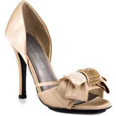 Adrienne Maloof Women's Yalissa - Champange Satin ($62) ❤ liked on Polyvore featuring shoes, pumps, formal, open toe, stiletto heels, women, high heels stilettos, beige platform pumps, platform stiletto pumps and high heel pumps