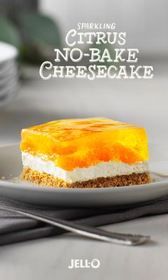 Impress your guests with a dessert treat that sparkles. To make Sparkling Citrus No-Bake Cheesecake you'll need JELL-O Lemon Flavor Gelatin, mandarin oranges, graham cracker crumbs, cream cheese, ginger ale, and a few other baking goods you probably already have in the pantry. See the full recipe for a few variations to make this delicious dessert your own.