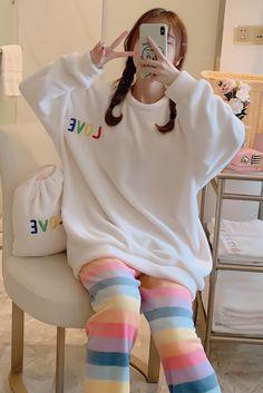 Cute Pajama Sets, Cute Pajamas, Pajamas Women, Korean Outfits, Retro Outfits, Cute Casual Outfits, Korean Girl Fashion, Fashion Women, Cute Sleepwear