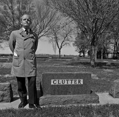 Capote at the grave of the four murdered members of the Clutter family, Valley View Cemetery, Garden City, Kansas.