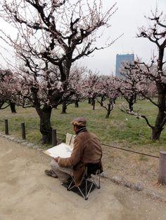 Zeichner im japanischen Pflaumenhain Garten, Ōsaka