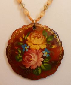 Hand painted wooden pendant necklace by LoveHAIGHTDesigns on Etsy, $25.00