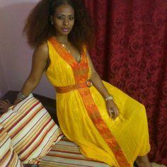 Yellow Ethiopian traditional dress   Ethiopian clothing   Eritrean clothes   Habesha dresses