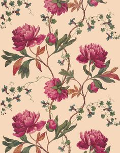 Antique French chinoiserie wallpaper pink peonies illustration | Etsy