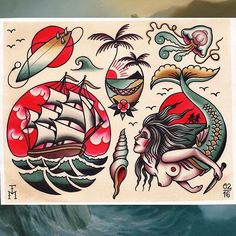 Awesome Flash by . Traditional Tattoo Painting, Traditional Tattoo Sketches, Traditional Tattoo Old School, Traditional Tattoo Design, Traditional Tattoo Flash, Traditional Nautical Tattoo, Tattoo Flash Art, Tattoo Flash Sheet, Bild Tattoos