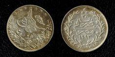 Nice Silver Coin 1904 AD 1293 AH Reginal Year 30 Egyptian 2 Qirsh, H Mint Mark Ottoman Sultan Abdul Hamid II
